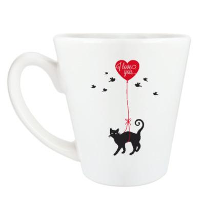 Чашка Латте Кот и сердце