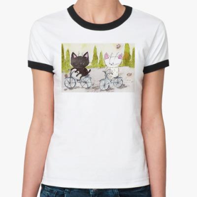 Женская футболка Ringer-T Велосипеды и любовь