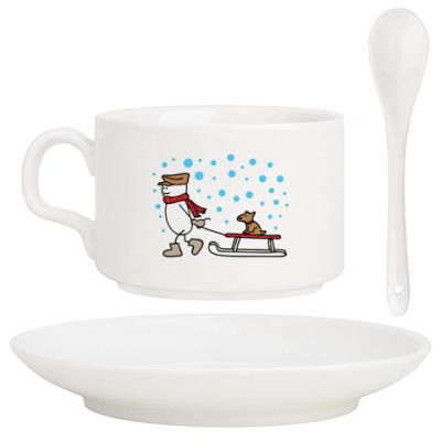 Кофейный набор Снеговик и Собака в Новый год