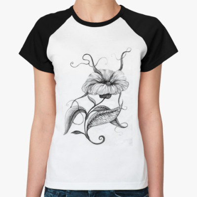 Женская футболка реглан Лунный цветок