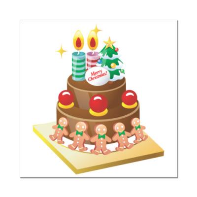 Наклейка (стикер) Рождественский торт