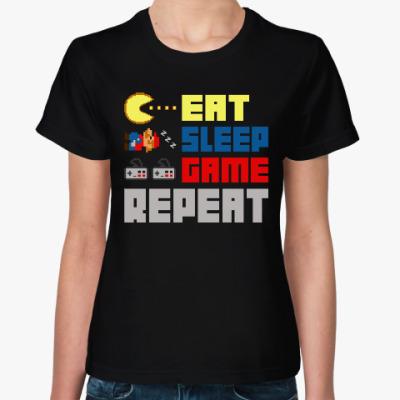 Женская футболка Ешь, спи, играй