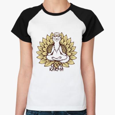 Женская футболка реглан   'Хорошая карма'