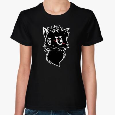 Женская футболка Черный кот new