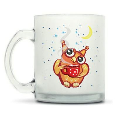 Кружка матовая Сова с чаем и снежинками