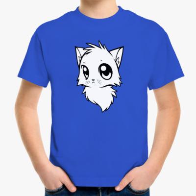 Детская футболка Белый кот