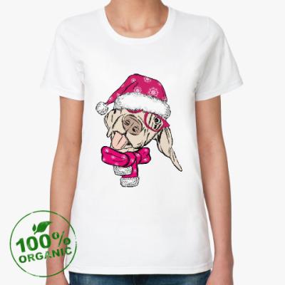 Женская футболка из органик-хлопка Собака Санта показывает язык