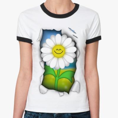Женская футболка Ringer-T Ромашка