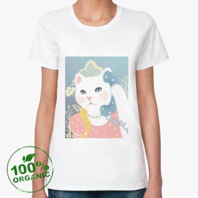 Женская футболка из органик-хлопка Кошка с телефоном