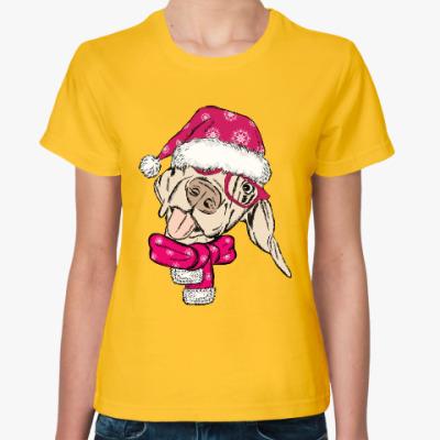 Женская футболка Собака Санта показывает язык
