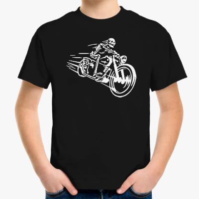 Детская футболка Скелет байкер