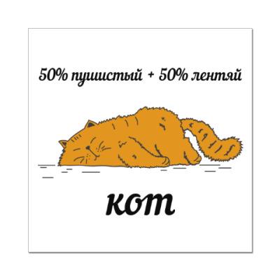 Наклейка (стикер) 50% пушистый + 50% лентяй это кот