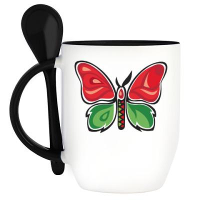 Кружка с ложкой Бабочка-Метаморфоза