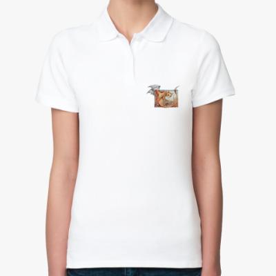 Женская рубашка поло Кошачий дракон
