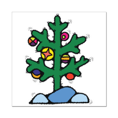 Наклейка (стикер) Нестандартная елочка
