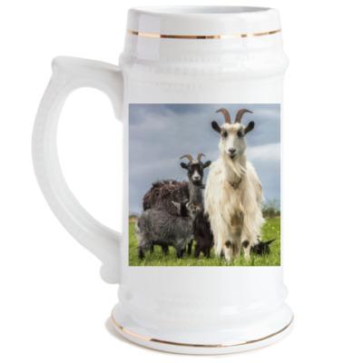 Пивная кружка Козы в поле