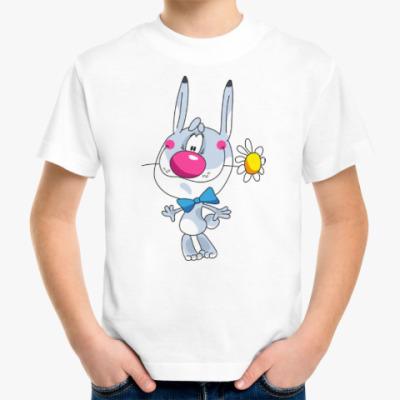 Детская футболка ЗАЯЦ С РОМАШКОЙ