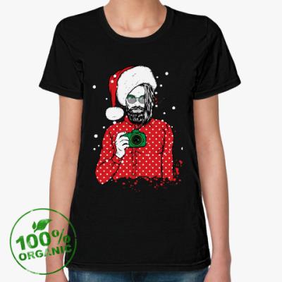 Женская футболка из органик-хлопка Санта Хипстер
