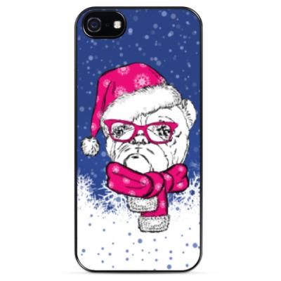 Чехол для iPhone Бульдог Санта