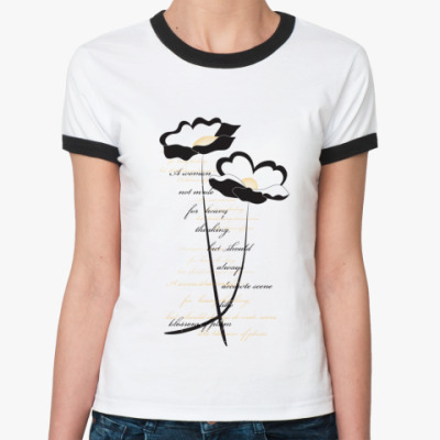 Женская футболка Ringer-T  'Цветы'