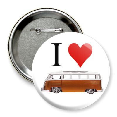 Значок 75мм I Love Bus