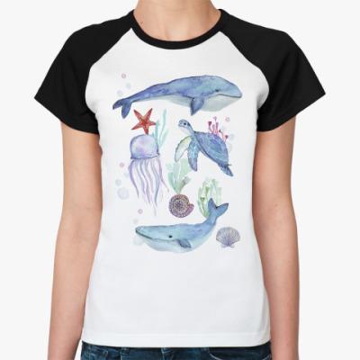 Женская футболка реглан Акварельный подводный мир