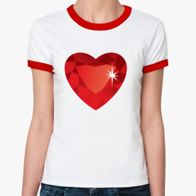 Женская футболка Ringer-T Сердце-Бриллиант
