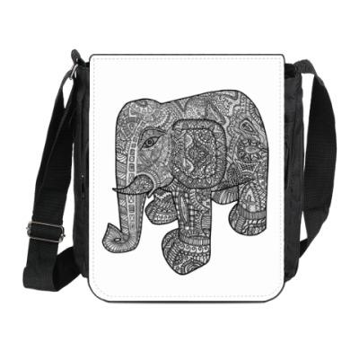 Сумка на плечо (мини-планшет) Слоник в узорах