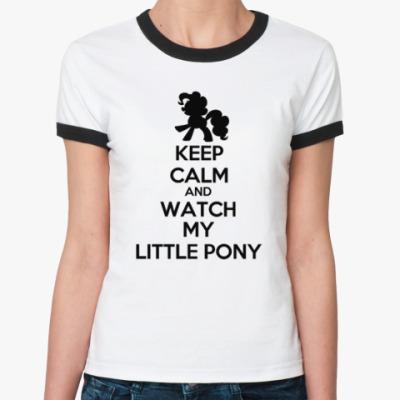 Женская футболка Ringer-T KEEP CALM ПОНИ