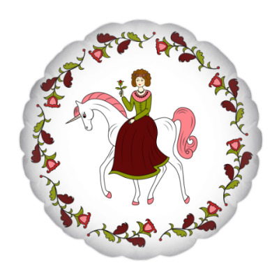 Подушка Russian folk flower ornament. Girl and unicorn