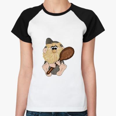 Женская футболка реглан   Домовой