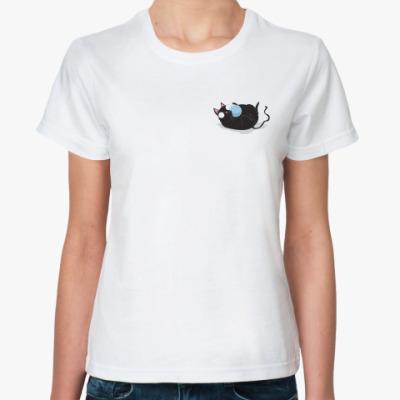 Классическая футболка   Кот и мячик