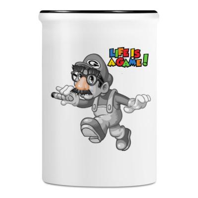Подставка для ручек и карандашей Марио - жизнь игра