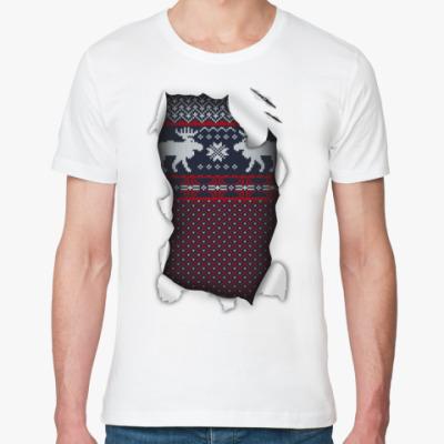 Футболка из органик-хлопка  'Вязаный свитер'