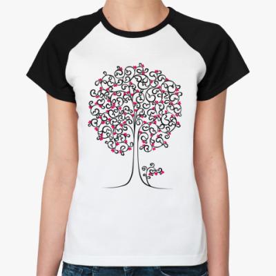 Женская футболка реглан Heart Tree