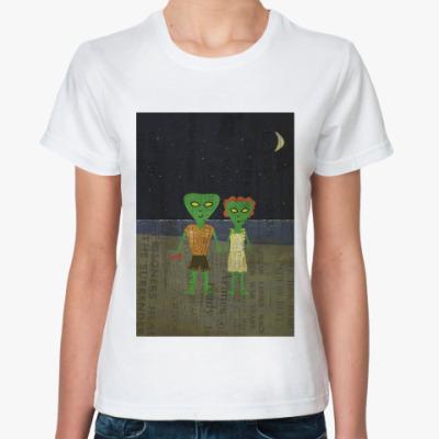 Классическая футболка инопланетяне-романтики