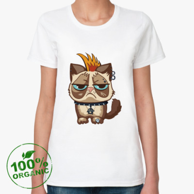 Женская футболка из органик-хлопка Кот Тард (Grumpy Cat) неформал