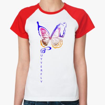 Женская футболка реглан butterfly