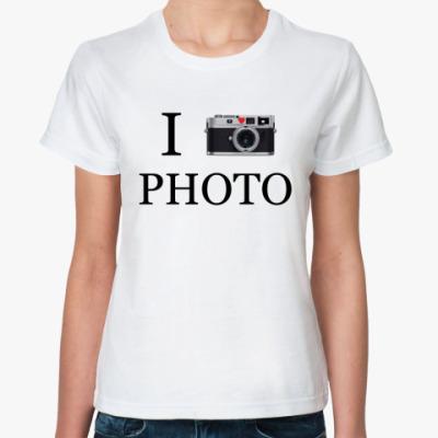 Классическая футболка I love photo