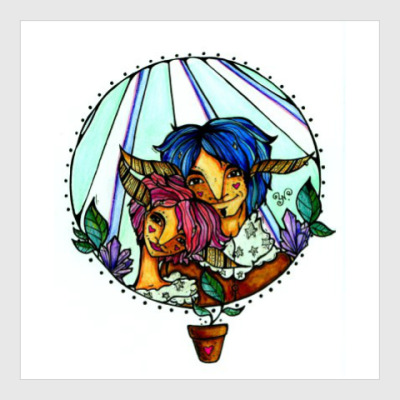 Постер Пара с розово-голубыми волосам