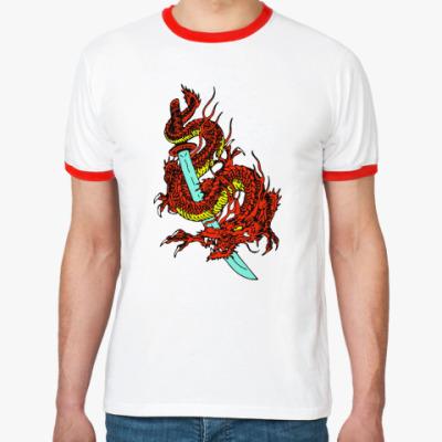 Футболка Ringer-T Дракон и катана