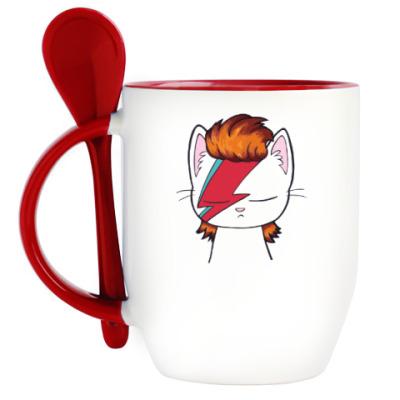 Кружка с ложкой Kitty Bowie