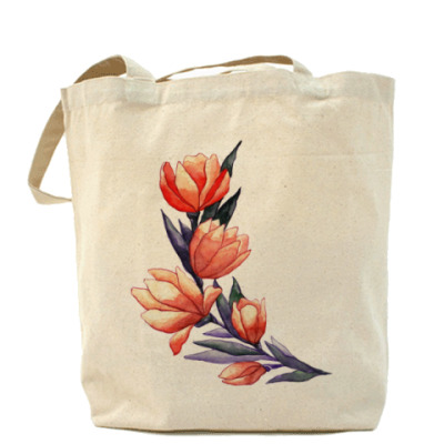 Сумка  Акварель тюльпаны