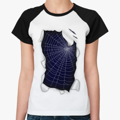 Женская футболка реглан Паутина