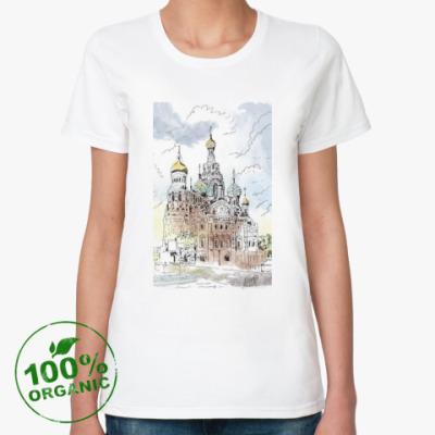 Женская футболка из органик-хлопка Собор Спас-на-Крови. Питер