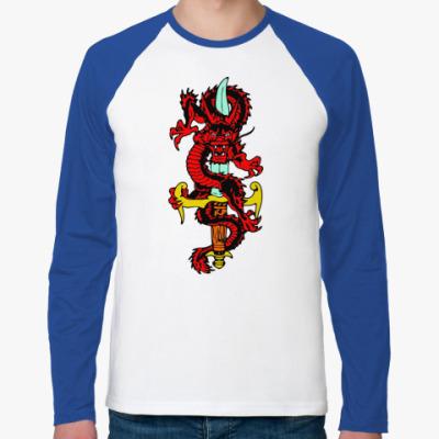 Футболка реглан с длинным рукавом Дракон и меч