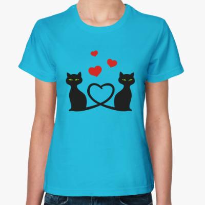 Женская футболка Влюбленные кошки