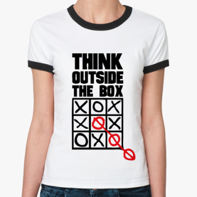 Женская футболка Ringer-T  Think Outside The Box