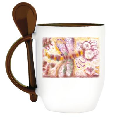 Кружка с ложкой Стрекоза из м/ф Винни-Пух