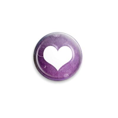 Значок 25мм Фиолетовое сердце